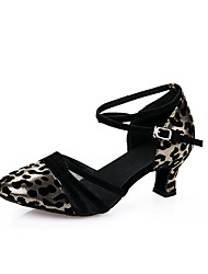 cheap -Women's Modern PVC Leather Heel Beginner Leopard Cuban Heel Gold Silver