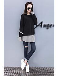 preiswerte -Damen Übergrössen Langarm Pullover - Streife Patchwork, Solide Baumwolle