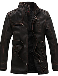 Men's Casual/Daily Vintage Winter Leather Jacket,Solid Stand Long Sleeve Long PU