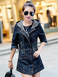 cheap -Women's Basic Cotton Denim Jacket - Solid Colored