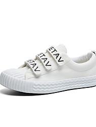 Women's Sneakers Walking Comfort Light Soles Denim Spring Fall Casual Magic Tape Flat Heel Yellow Black White Under 1in