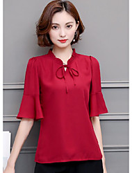 cheap -Women's Going out Sophisticated Blouse - Solid Colored V Neck