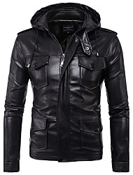 cheap -Men's Simple Casual Leather Jacket-Solid Colored Hooded