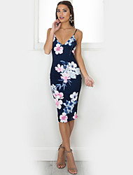 cheap -Women's Vintage Street chic Bodycon Dress - Floral High Rise Strap