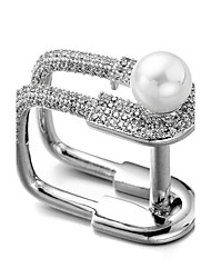 cheap -Men's Cubic Zirconia Mismatched Ring - Pearl, Zircon, Silver Plated 7 / 8 / 9 Silver For Christmas Wedding Gift