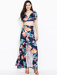 cheap -Women's Club Street chic Short T-shirt - Floral, Split High Rise Skirt Deep V