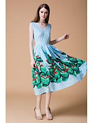 cheap -STEPHANIE Women's Daily Going out Cute Loose Sheath Dress,Geometric V Neck Midi Above Knee Sleeveless Silk Summer Mid Rise Micro-elastic Opaque Thin