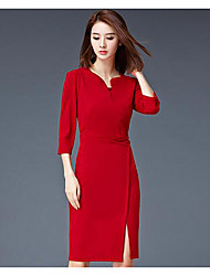 Women's Casual/Daily Work Sheath Dress,Solid V Neck Knee-length 3/4 Length Sleeves Polyester Summer Fall Mid Rise Micro-elasticThin