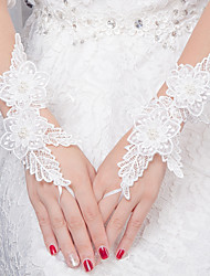Wrist Length Fingerless Glove Knit Bridal Gloves All Seasons Floral