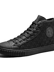preiswerte -Herrn Schuhe PU Mikrofaser Frühling Herbst Komfort Sneakers Schnürsenkel Reißverschluss für Normal Draussen Schwarz