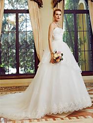 cheap -Ball Gown Strapless Court Train Tulle Custom Wedding Dresses with Sequin Appliques by LAN TING BRIDE®