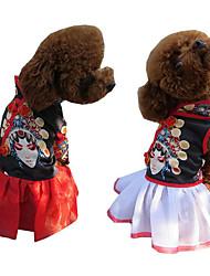 abordables -Chien Robe Vêtements pour Chien Décontracté / Quotidien Broderie Blanc Rouge Costume Pour les animaux domestiques