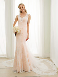 cheap -Mermaid / Trumpet Plunging Neckline Chapel Train Lace Tulle Wedding Dress with Appliques Buttons by LAN TING BRIDE®