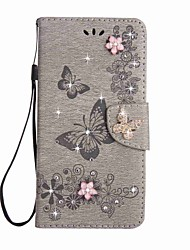 cheap -Case for Huawei P10 Lite P10 Plus Wallet Rhinestone Embossed  Butterfly PU Leather Case for Huawei P10 P8 Lite (2017) Y5 II Honor 9 8 5C Mate 9