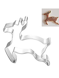 Christmas Theme Reindeer Elk Shape Cookie Cutter, L 7.5cm x W 6.5cm x H 2.5cm, Stainless Steel