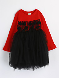 cheap -Girl's Daily Color Block Dress,Cotton Spring Fall Long Sleeve Lace Red