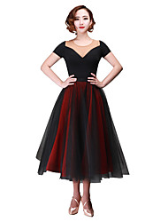 cheap -Ballroom Dance Bottoms Women's Performance Chiffon Tulle Bow(s) 2 Pieces Dropped Skirts Waist Accessory