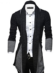 cheap -Men's Daily Going out Street chic Long Cardigan,Color Block Shirt Collar Long Sleeves Polyester Spandex Winter Fall Medium Micro-elastic