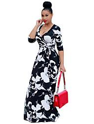 Gaine Robe Femme Soirée Plage Fleur Col en V Maxi Manches 3/4 Polyester Spandex Eté Taille Haute Elastique Moyen