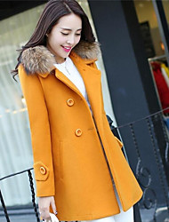 Women's Casual/Daily Simple Winter Coat,Solid Cowl Long Sleeve Long Cotton