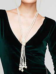 cheap -Women's Circle Elegant Multi Layer Strands Necklaces Long Necklace Pearl Necklace Pearl Imitation Pearl Strands Necklaces Long Necklace