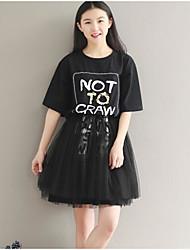 Tee Shirt Robe Femme Décontracté / Quotidien Lettre Col Arrondi Au dessus du genou Manches Courtes Coton Eté Taille Haute Non Elastique