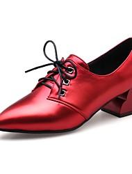 preiswerte -Damen Schuhe Kunstleder Herbst Winter Komfort High Heels Blockabsatz Spitze Zehe Schnürsenkel für Party & Festivität Kleid Schwarz Grau