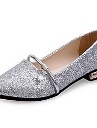 Damen Flache Schuhe Walking Komfort T-Riemen PU Sommer Normal Metall Zehen Flacher Absatz Gold Schwarz Silber 5 - 7 cm