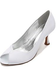levne -Dámské Boty Satén Jaro Léto Pohodlné Svatební obuv Nízký tenký Nízký podpatek Vysoký úzký S otevřeným palcem Rozdělení pro Svatební Šaty