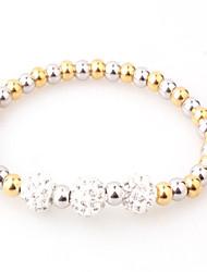 Men's Women's Bracelet Strand Bracelet Geometric Metallic Fashion Bling Bling Classic Titanium Steel Silver Plated Gold PlatedRound