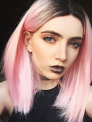 cheap -Most Popular Ombre Light Pink Color BOBO Straight Hair European Synthetic Wigs For Women Wig