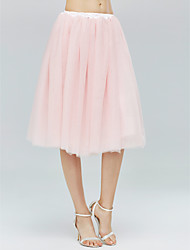 Slips Tulle Netting Knee-Length Simple With Wedding Accessories
