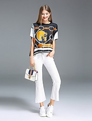T-shirt Da donna Per uscire Casual Semplice Moda città Primavera Estate,Con stampe Rotonda Seta Cotone Manica corta Medio spessore