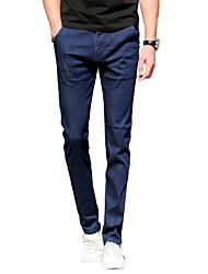 Men's Mid Rise Micro-elastic Skinny Jeans PantsSimple Slim Solid UK-966