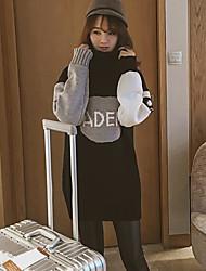 Women's Casual/Daily Simple Long Pullover,Solid Print Color Block Turtleneck Long Sleeves Rabbit Fur Linen Fall Medium Micro-elastic
