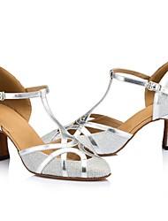 cheap -Women's Latin Shoes Sparkling Glitter Sandal Sparkling Glitter Cuban Heel Customizable Dance Shoes Gold / Black / Silver / Performance