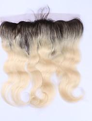 abordables -Pelo remy brasileño del pelo del beata ombre 1b / 613 rubio 13 * 4 oído del cierre frontal del cordón al oído del cuerpo del oído pelo