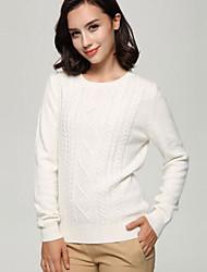 Standard Cashmere Da donna-Casual Semplice Tinta unita Rotonda Manica lunga Altro Autunno Inverno Medio spessore Elasticizzato