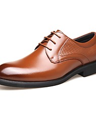 Men's Oxfords Comfort Formal Shoes Spring Fall Real Leather Wedding Casual Party & Evening Office & Career Low Heel Black Brown Under 1in