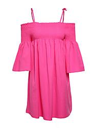 abordables -Mujer Vaina Vestido Trabajo Un Color A Rayas Bloques Con Tirantes Sobre la rodilla Manga Corta Algodón Primavera Tiro Medio Microelástico