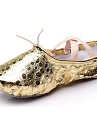 "cheap -Women's Ballet Synthetic Flat Indoor Polka Dot Flat Heel Gold Silver Under 1"" Customizable"