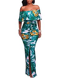 abordables -Femme Bohème Moulante Robe - Dos Nu A Volants Fendu, Fleur Taille Haute Bateau Maxi