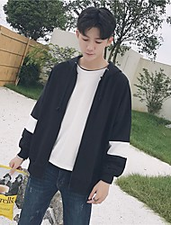 Men's Daily Sports Going out Simple Casual Spring Fall Jacket,Solid Hooded Long Sleeve Regular Polyester Others