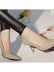 Women's Shoes Real Leather PU Fall Winter Comfort Basic Pump Heels For Casual Gold Silver