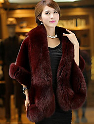cheap -Women's Daily Simple Casual Winter Fall Fur Coat,Solid Square Neck Half Sleeves Regular Faux Fur
