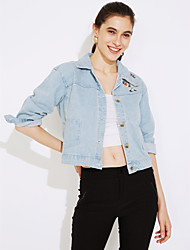 cheap -Women's Street chic Denim Jacket Print