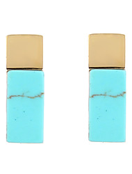 cheap -Stainless Steel 18K Gold Mini Stripes Stud Earrings with Turquoise-Stripes