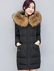 Women's Regular Padded Coat,Street chic Going out Solid-Others Polypropylene Long Sleeves