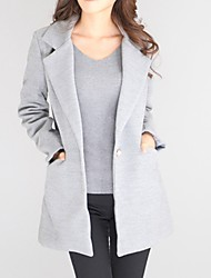 cheap -Women's Going out Cotton Coat - Solid Colored, Pure Color