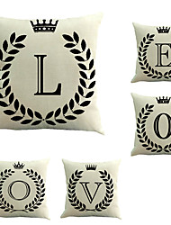 Set Of 5 Crown Love Pillow Cover Creative Sofa Pillow Case